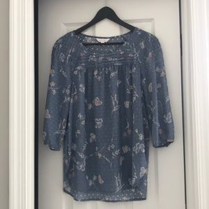 Lauren Conrad patterned shirt with 3/4 sleeve